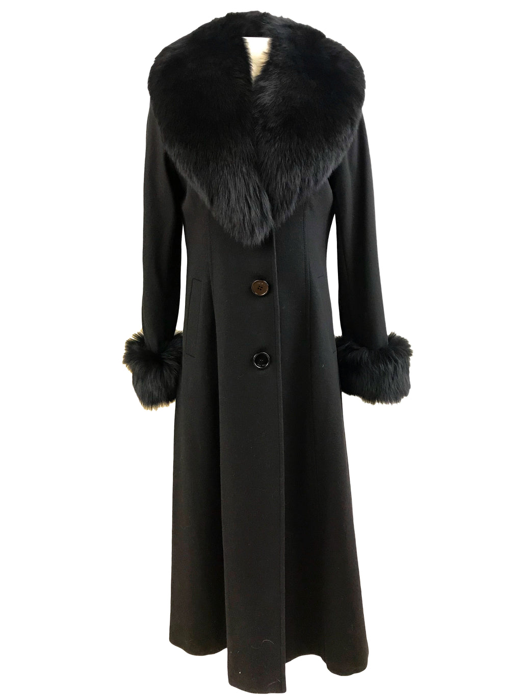 "47"" 100% Cashmere Long Coat with Fox Collar and Cuff - Size Medium"