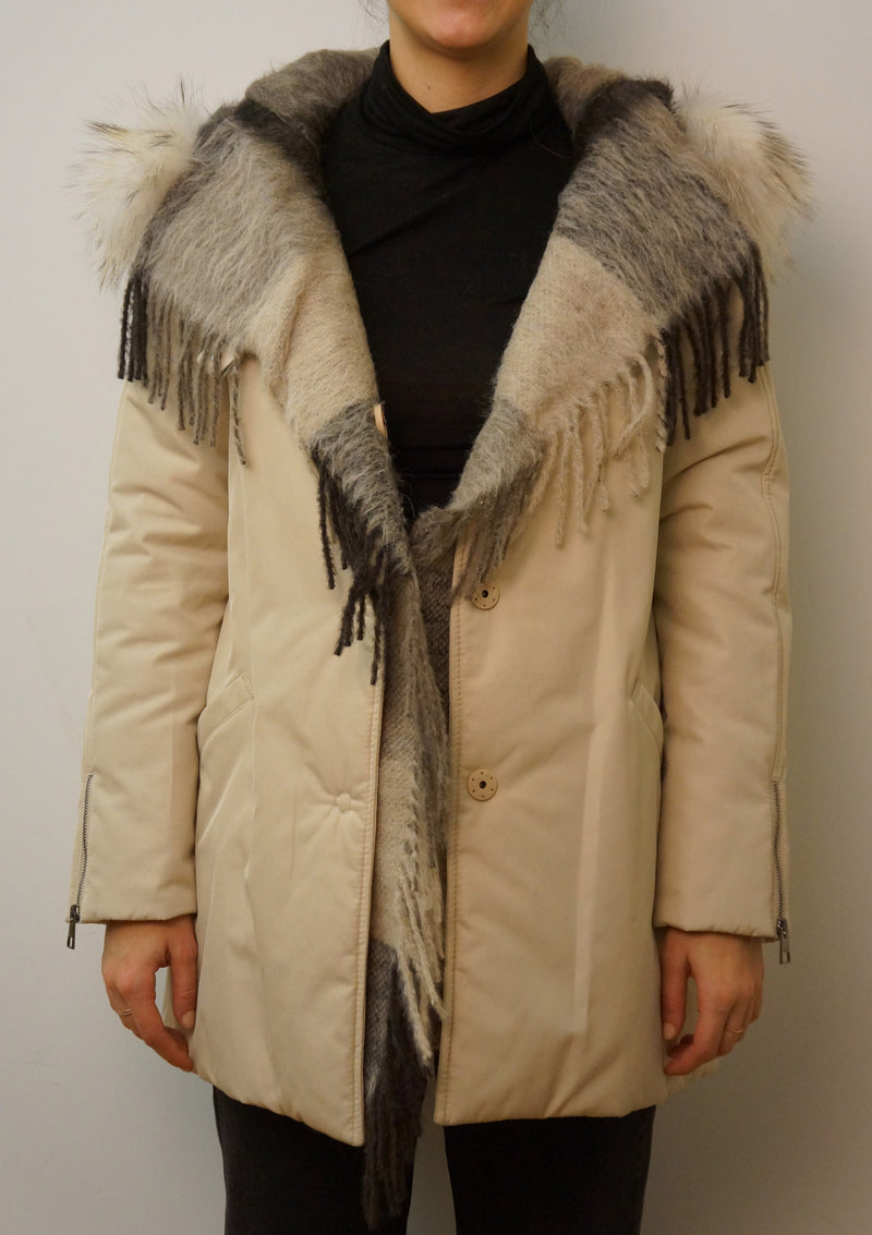 Raccoon Trim Hooded Coat with Fringe Detail