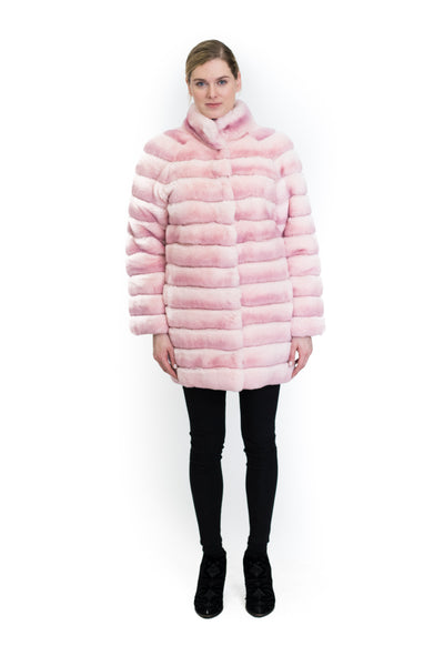 Reversible Wool and Nylon Coat with Rex Rabbit
