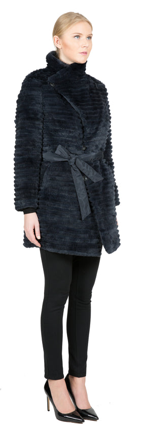 Reversible Microfabric Layered Rex Rabbit Coat