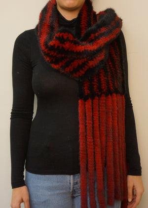 Knitted Mink Scarf with Fringes