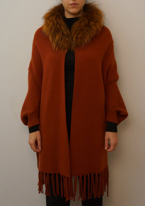 Cape with Sleeves and Detachable Silver Fox Collar