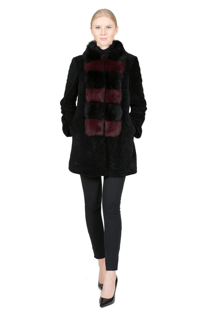 Shearling Coat with Two Tone Front Fox Panel