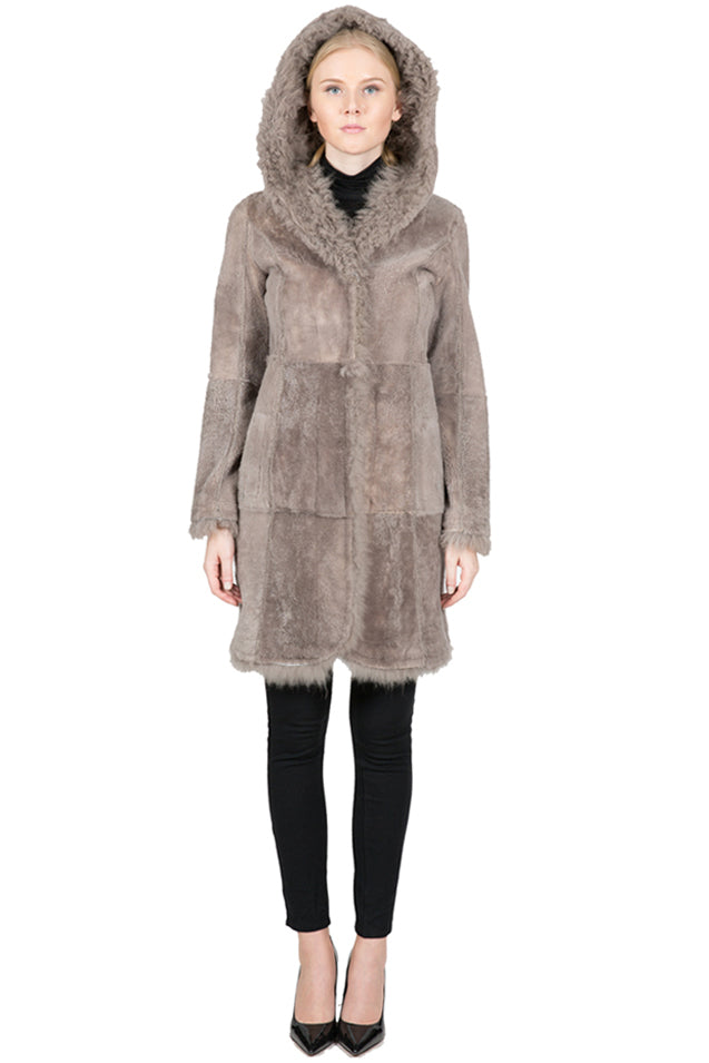 Reversible Shearling Coat with Oversized Hood