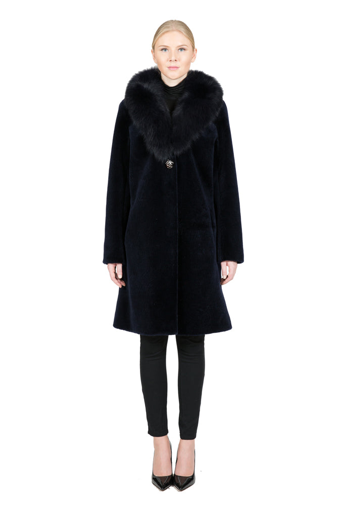 Sheep Fur Coat with Detachable Fox Collar