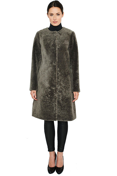 Shearling A-Line Coat with Buttons