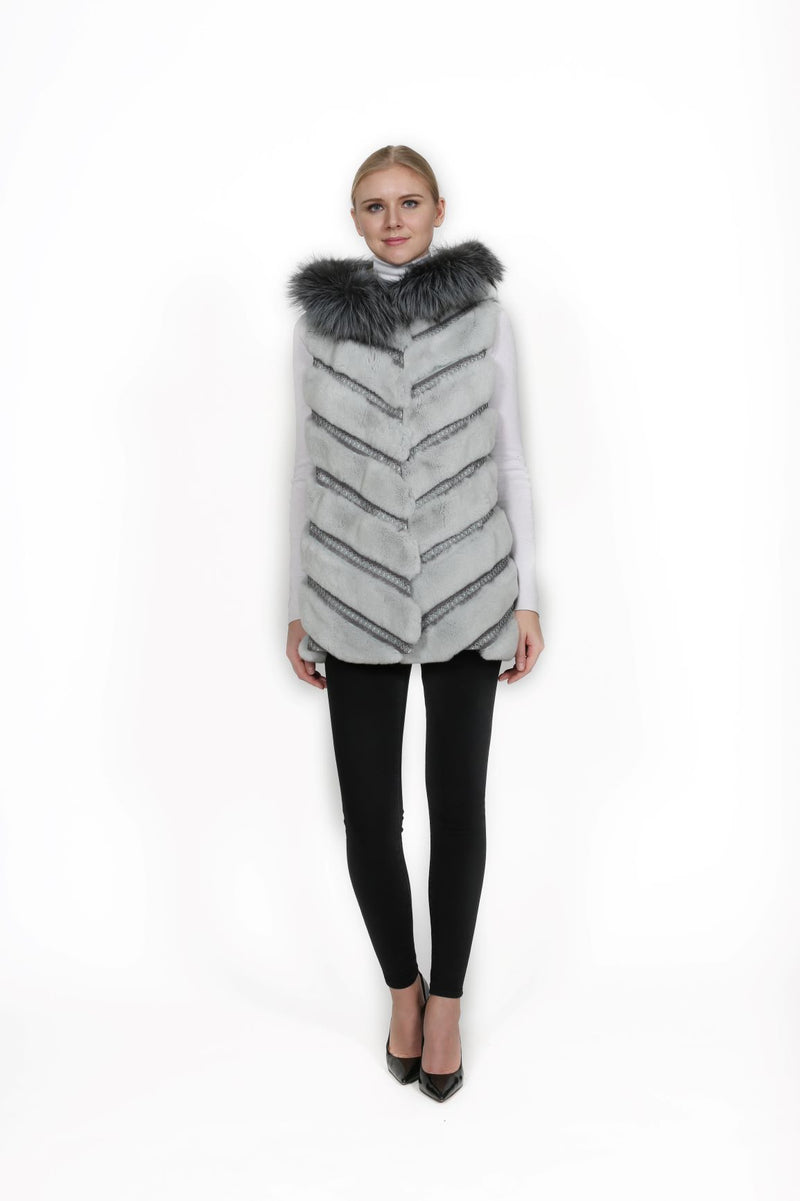 Reversible Rex Vest with Silver Fox Trim Hood