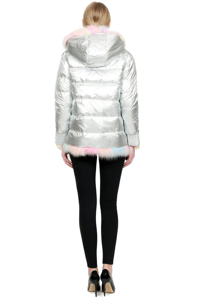 Microfabric Jacket with Dyed White Fox Trim