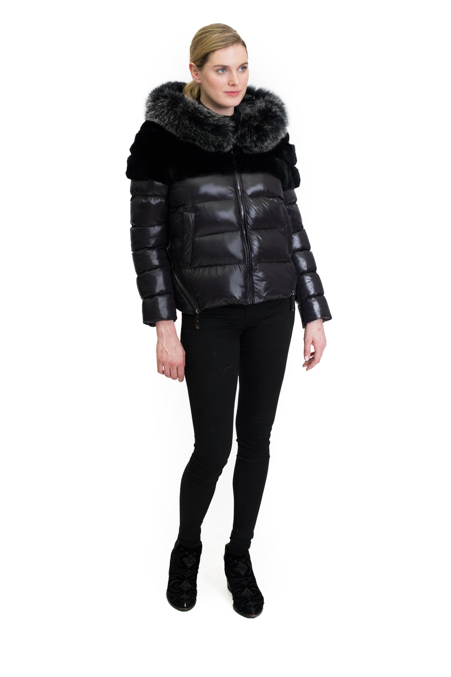 Down Jacket with Rex Rabbit and Fox Trim Hood