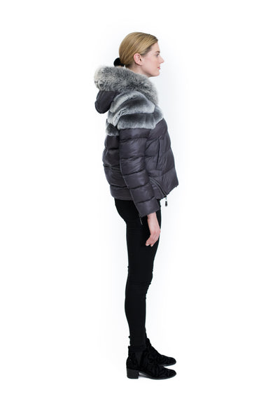 Down Jacket with Rex Rabbit Panel and Fox Trim Hood