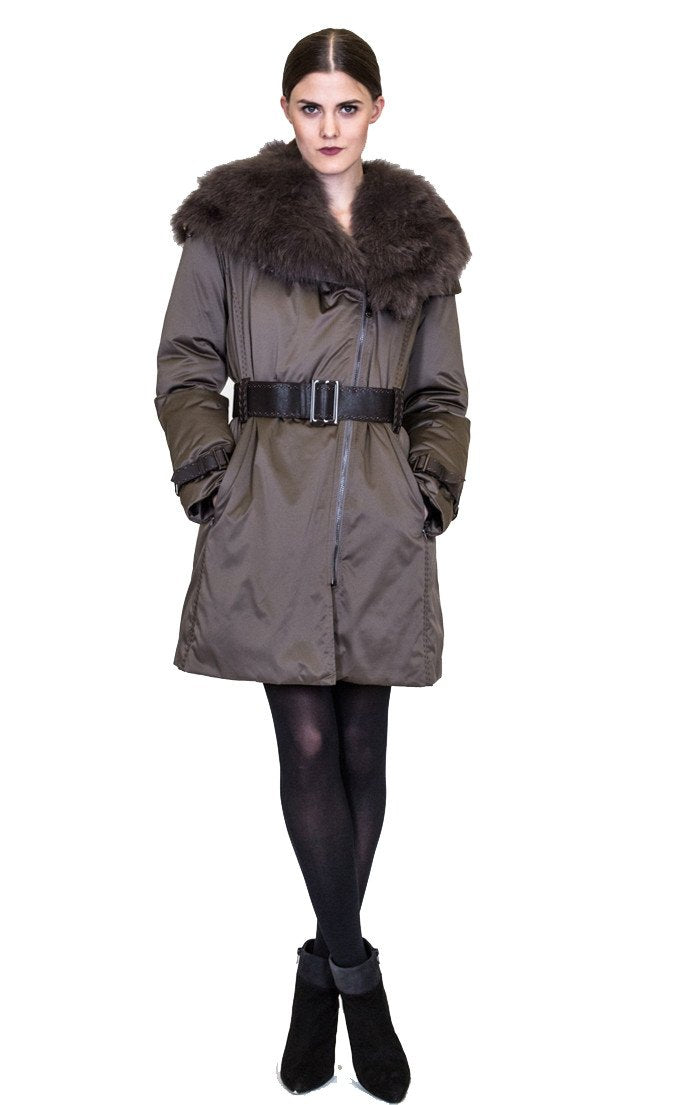 Microfabric Down Coat with Fox Hood and Belt