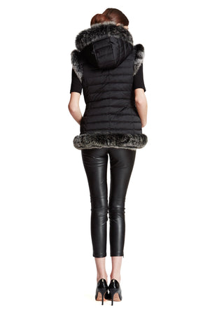 Reversible Microfabric Hooded Vest with Fox