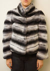 Chevron Rex Rabbit Coat