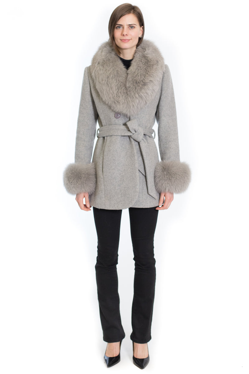 Style # A17 - Wool coat with wide fox shawl collar and cuff