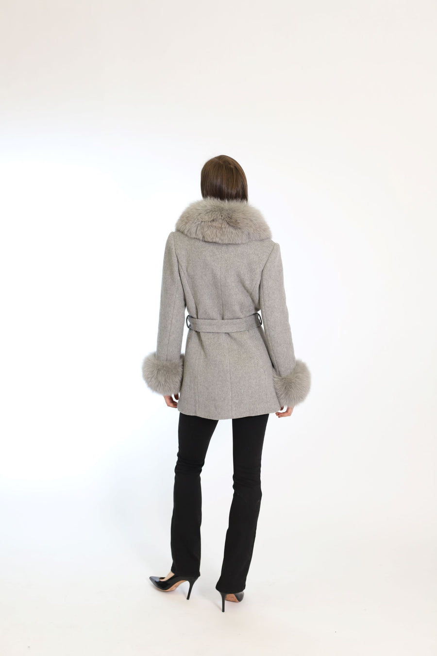 Alpaca and Wool Structured Coat with Fox Collar and Cuffs