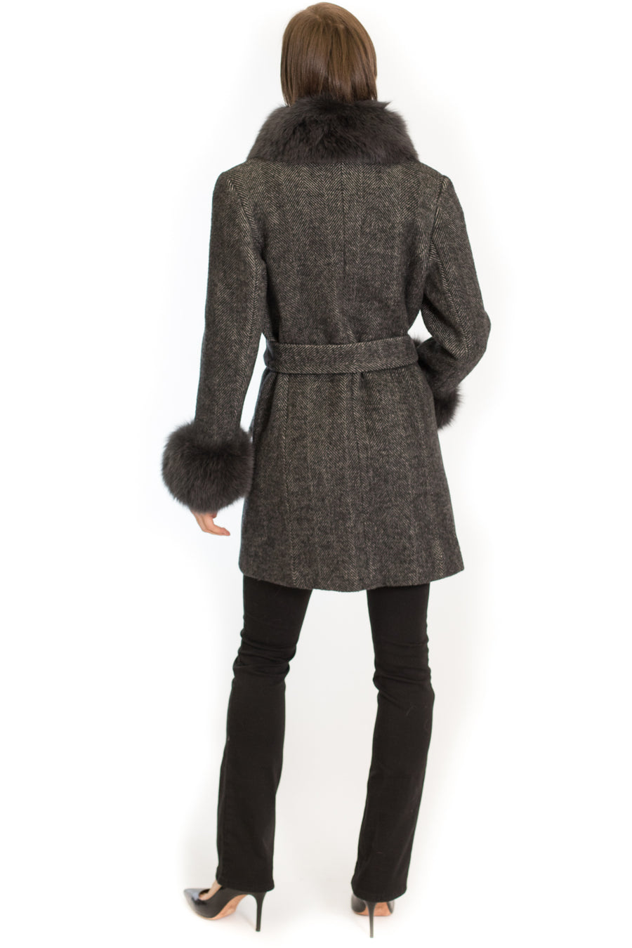 Wool Wrap Coat with Oversized Fox Collar and Cuffs