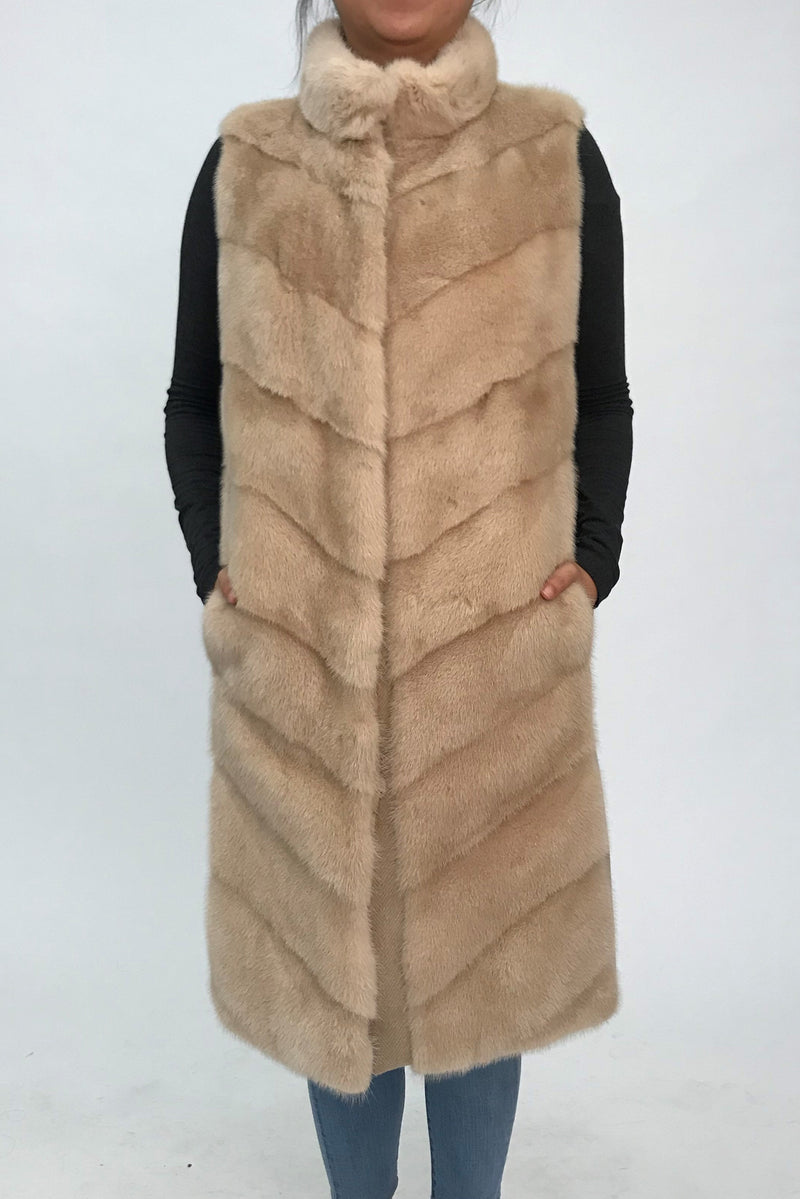 Reversible Cashmere Blend Vest with Mink Front Panel