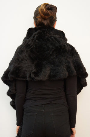 Knitted Mink Shrug with Ruffle Detail