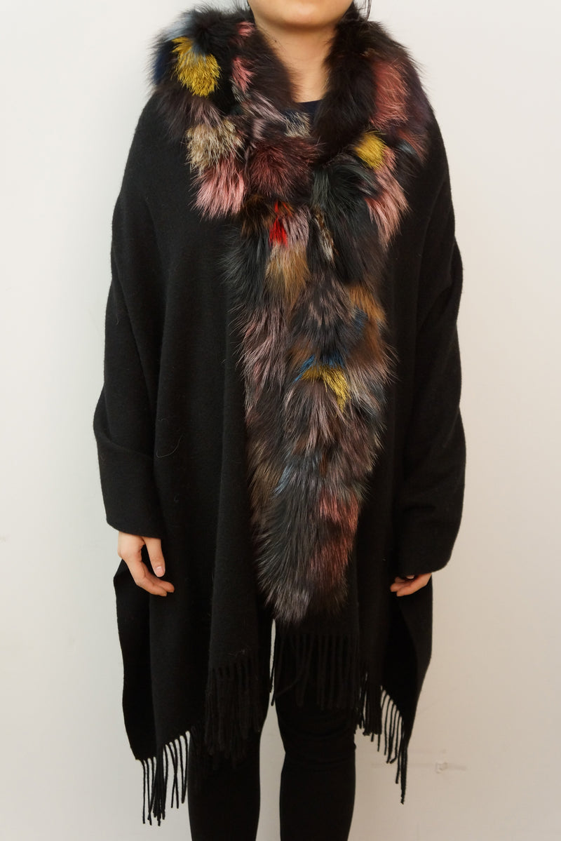 Cashmere Blend Wrap with Oversized Fox Collar