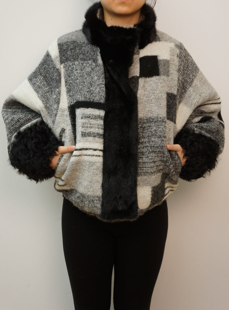 Short Wool Jacket with Mink and Kalgan Trim