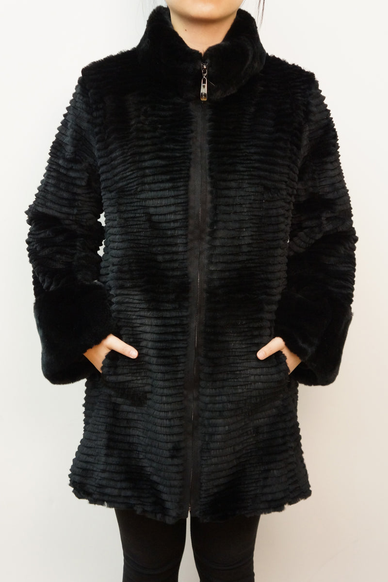 Layered Rex Rabbit Coat