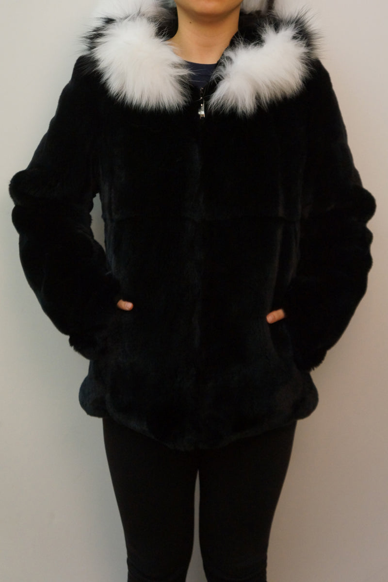 Full Skin Rex Rabbit Jacket with Fox Trim Hood