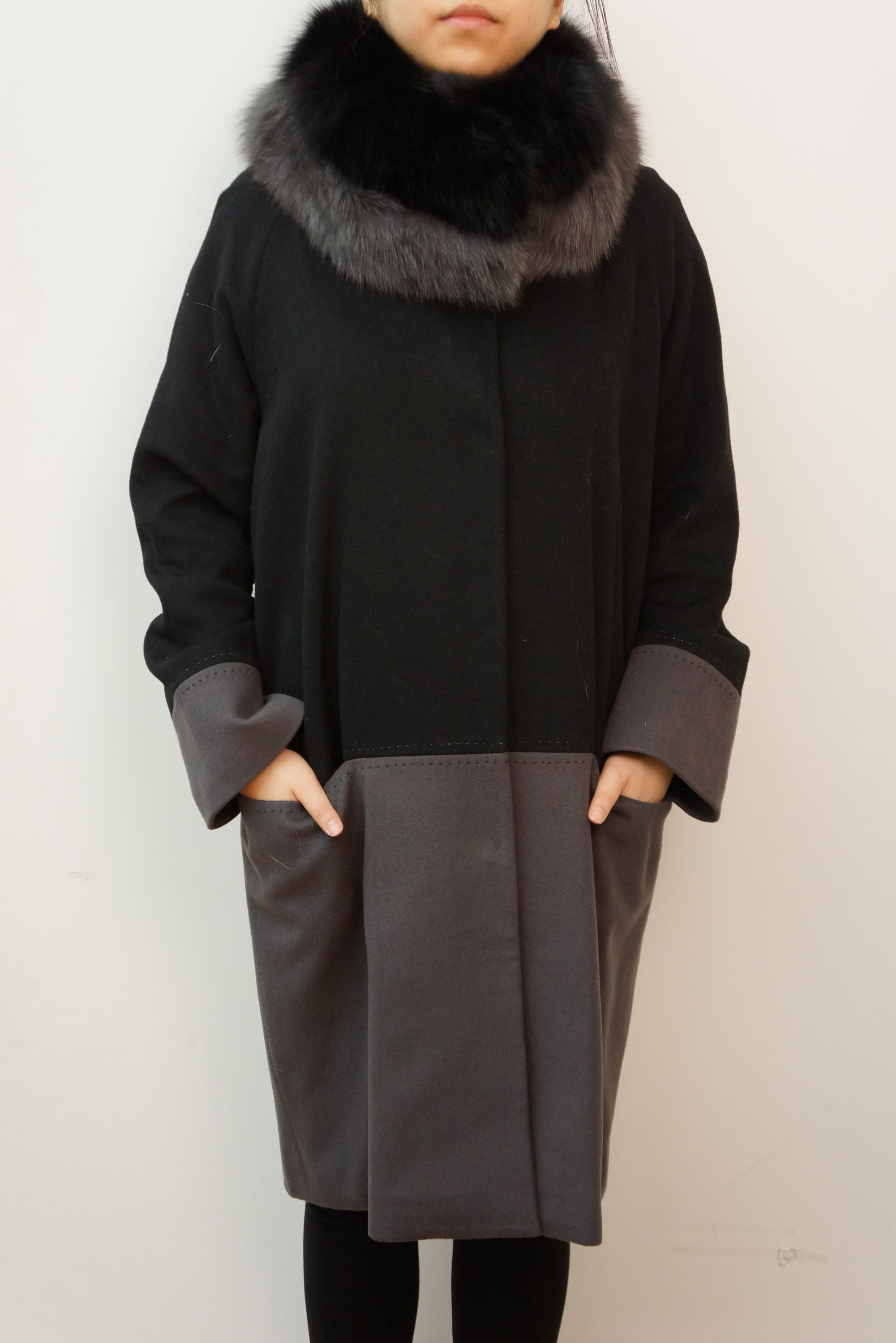 Cashmere Coat With Fox Stand Up Collar