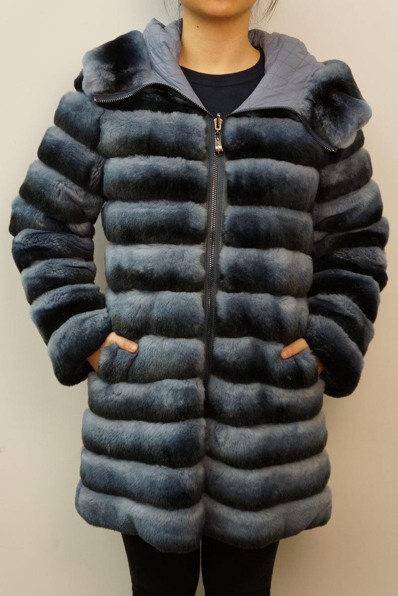 Reversible Rex Rabbit Down Coat