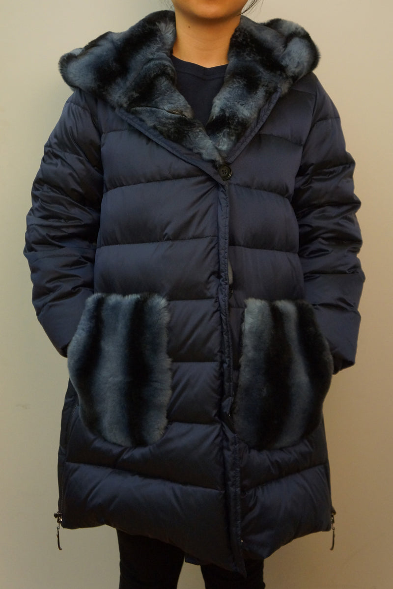 Down Jacket with Rex Rabbit Hood