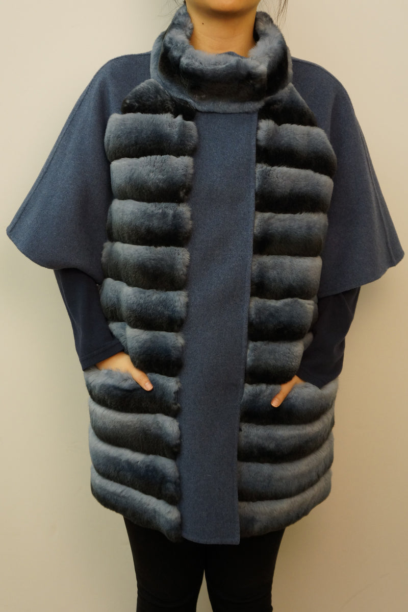 Rex Rabbit Half-Sleeve Wool Coat