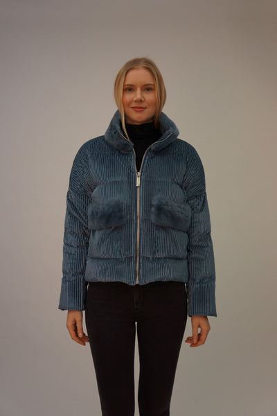 Down Jacket with Rex Rabbit