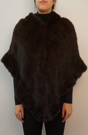 Knitted Mink Hooded Cape