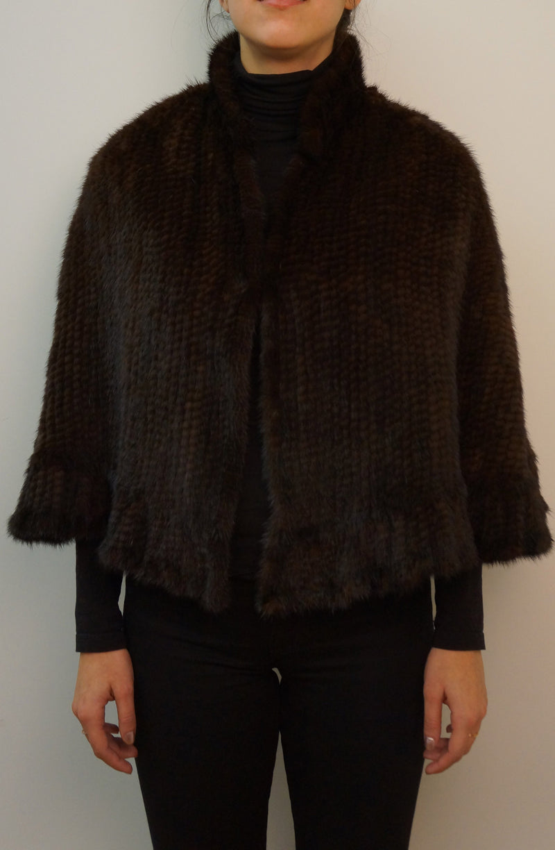 Knitted Mink Cape with Collar