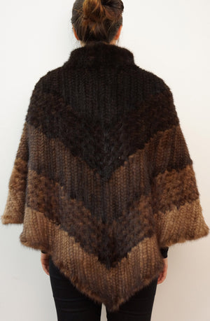 Knitted Mink Multicolor Poncho