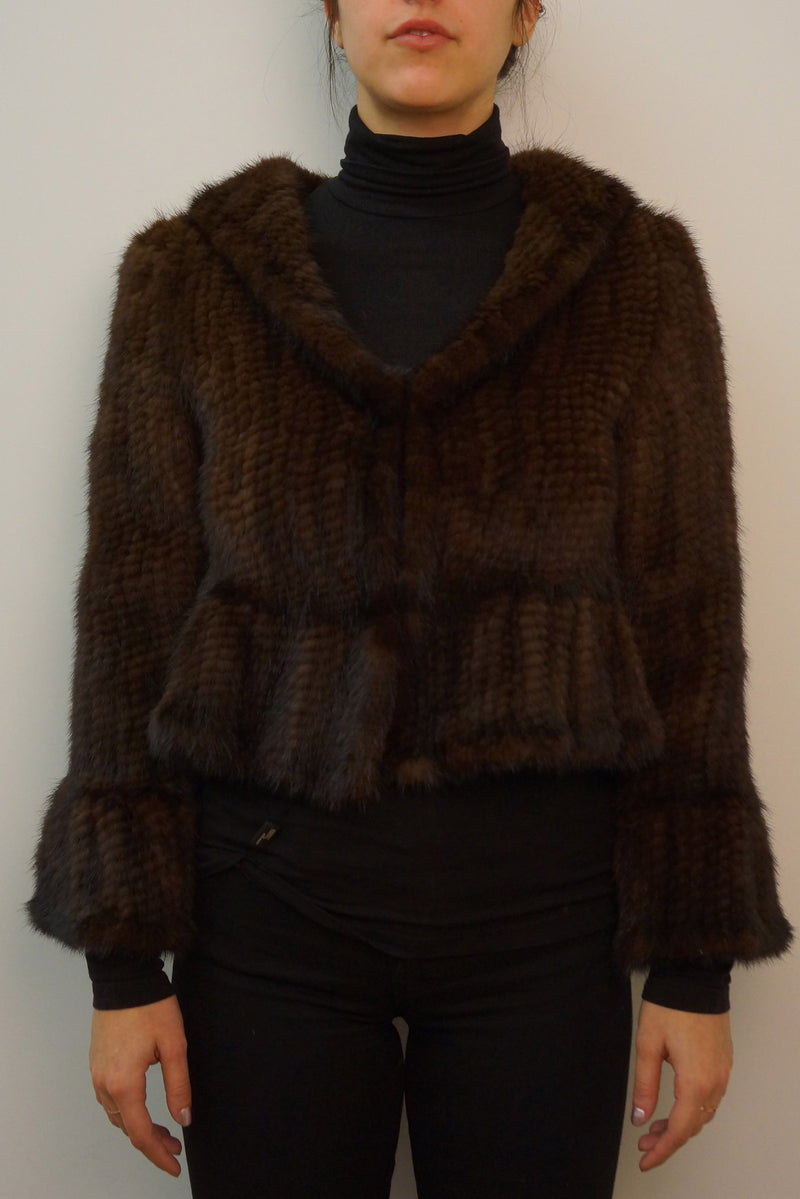 Knitted Mink Short Jacket with Ruffle Detail