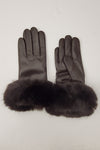 Leather Touchscreen Glove with Faux Fur