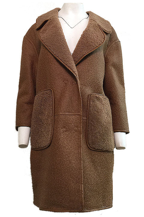 "35"" Leather Shearling Coat w/ Oversized Pockets - Size Large"