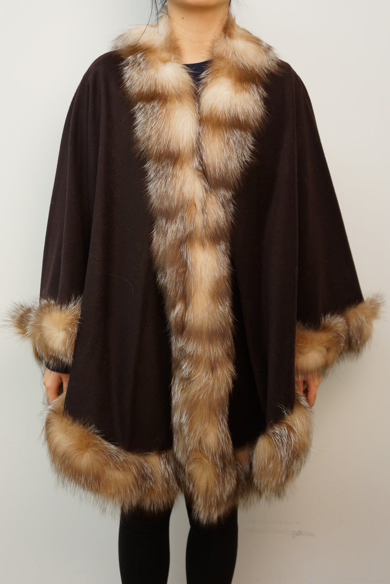 Cashmere Cape with Silver Fox Trim