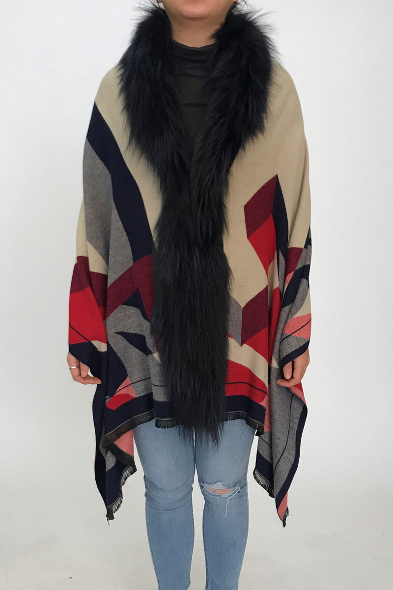 Colorblock Cape with Silver Fox