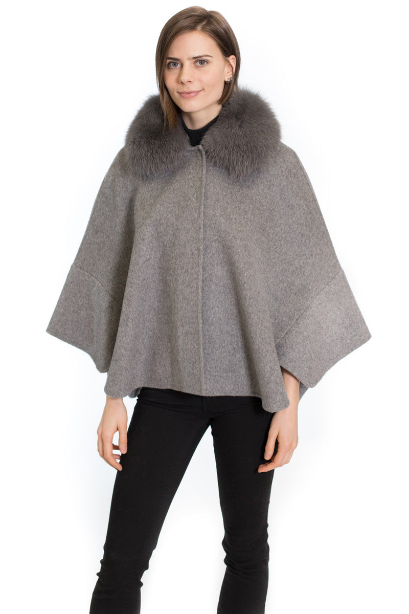 Wool Cape with Fox Collar