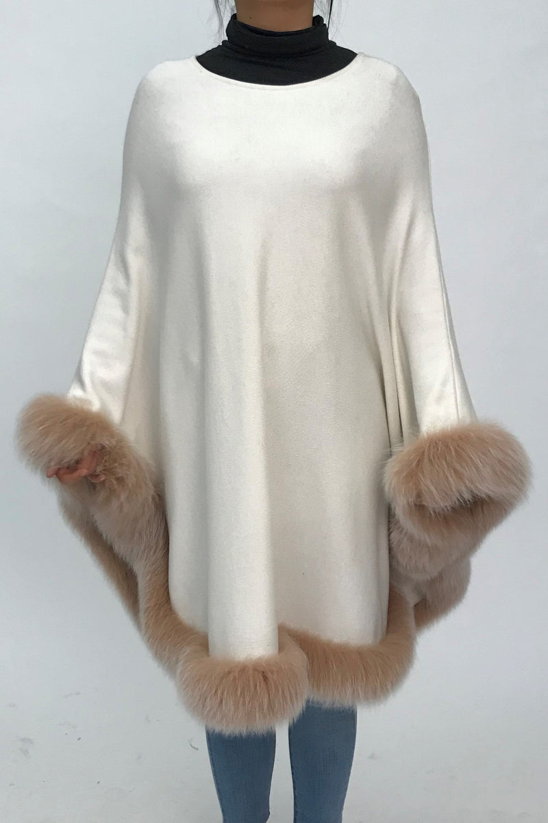 Lightweight Cashmere Blend Poncho with Silver Fox Trim
