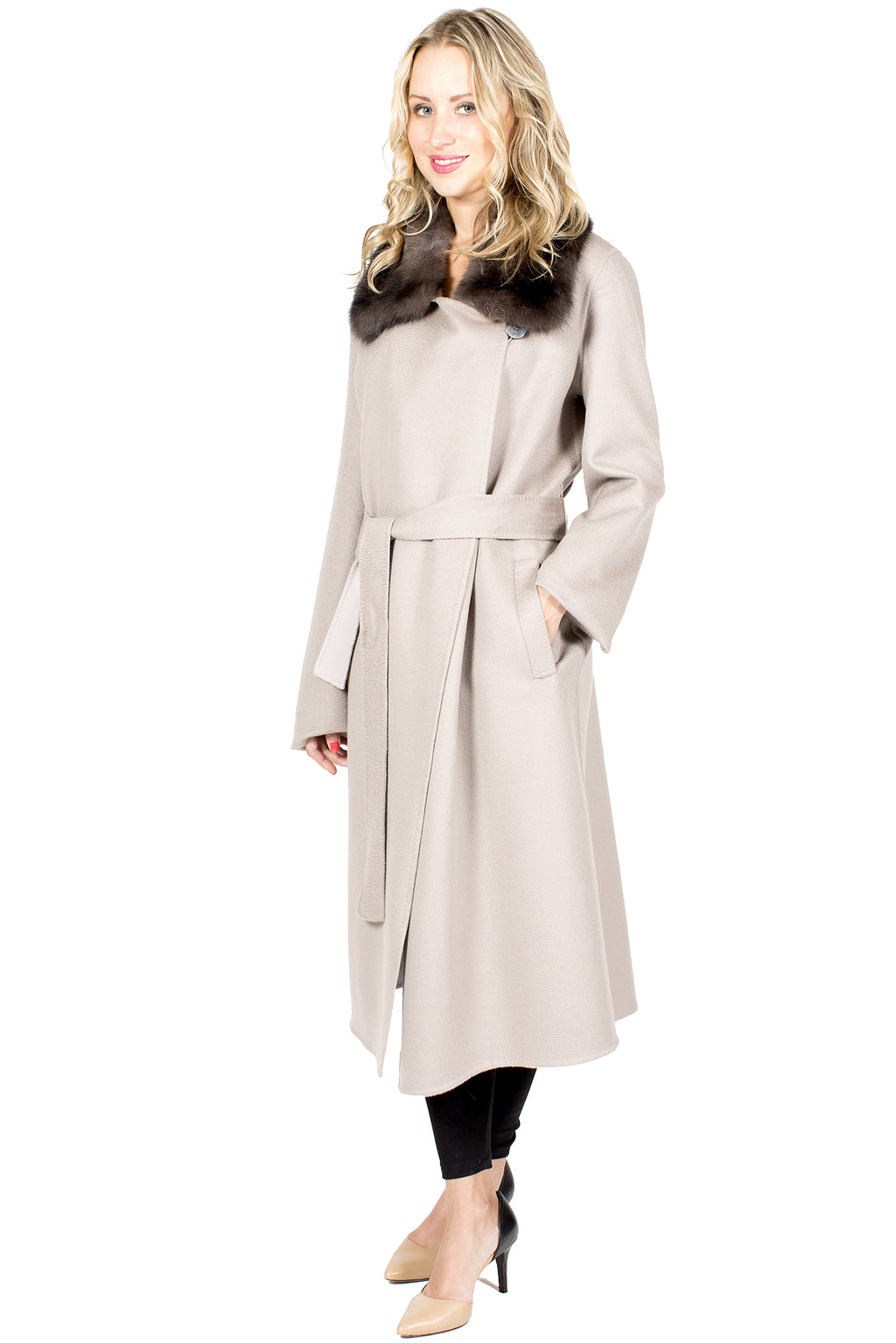 Long 100% Cashmere Wrap Coat with Sable Collar