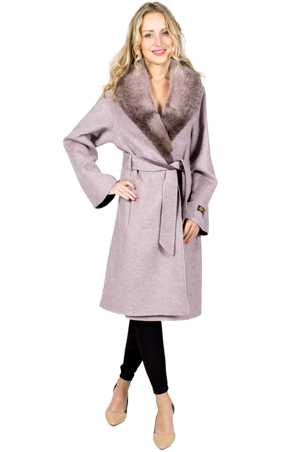 100% Cashmere Wrap Coat with Mink Collar