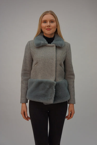 Wool Blend Coat with Faux Fur