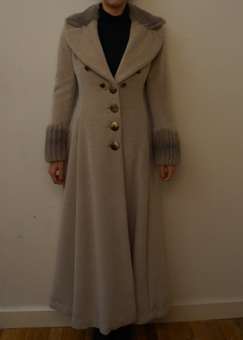 Cashmere Long Coat with Mink Collar and Cuffs