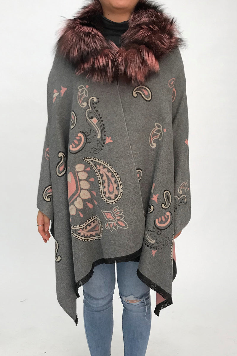 Printed Cape with Silver Fox