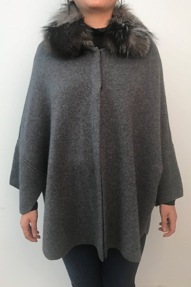 Wool Blend Cape with Fox Collar