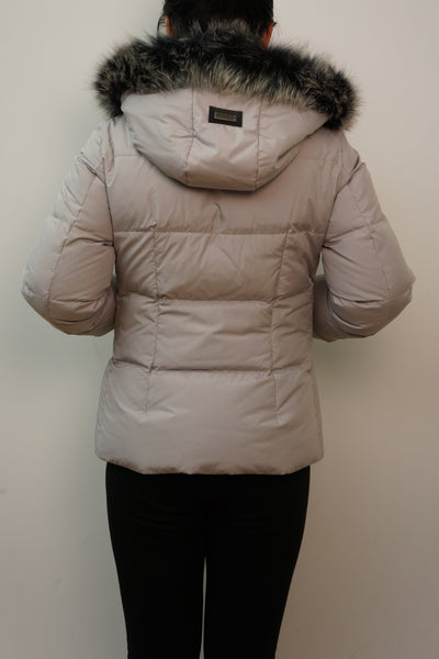 Down Jacket with Fox Trim Hood and Rex Rabbit Front Panel