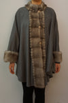 Cashmere Cape with Scalloped Mink Trim