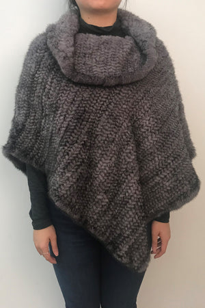 Asymmetrical Knitted Mink Poncho